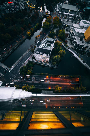 Architecture City Building Exterior Built Structure High Angle View Transportation Road Street No People City Life Illuminated Cityscape Motion Night Building Mode Of Transportation Reflection Berlin Architecture Urban Exploration EyeEm Best Shots Taking Photos Exploring Sunset Colors