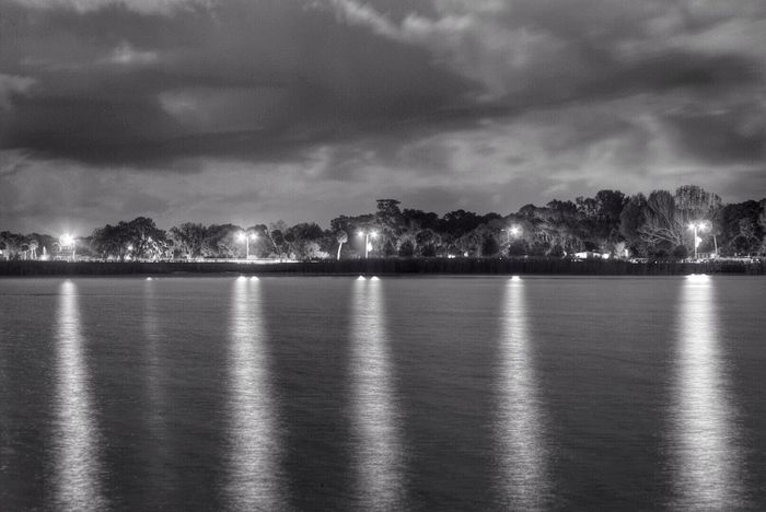 Lake view Light Blackandwhite Night