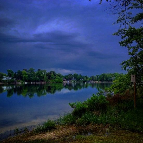 Storm Clouds Off To The Distance Storm Clouds Before The Storm Beautiful Colors Water Reflections On The Water No People My Backyard Oasis California MD USA