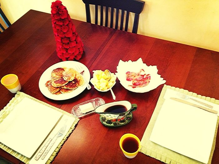 Christmas Morning Feast Of Homemade Pancakes, Fresh Fruit, & Bacon!
