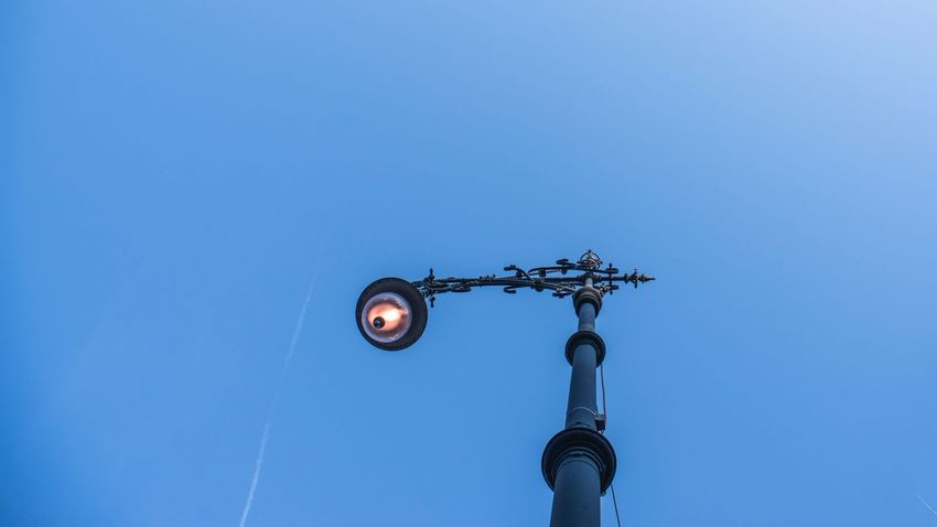 Berlin Low Angle View Sky Lighting Equipment Blue Nature No People Clear Sky Street Light Street Outdoors Day Copy Space Technology Weather Vane Architecture Metal Built Structure Light Electricity  Electric Light