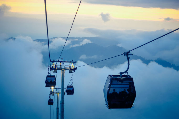 Sky Cable Car Cloud - Sky Nature Overhead Cable Car Transportation Cable Travel Hanging Ski Lift Mode Of Transportation Beauty In Nature Fog Outdoors Mountain Steel Cable Scenics - Nature Day Tranquil Scene No People Travel Tourist Attraction