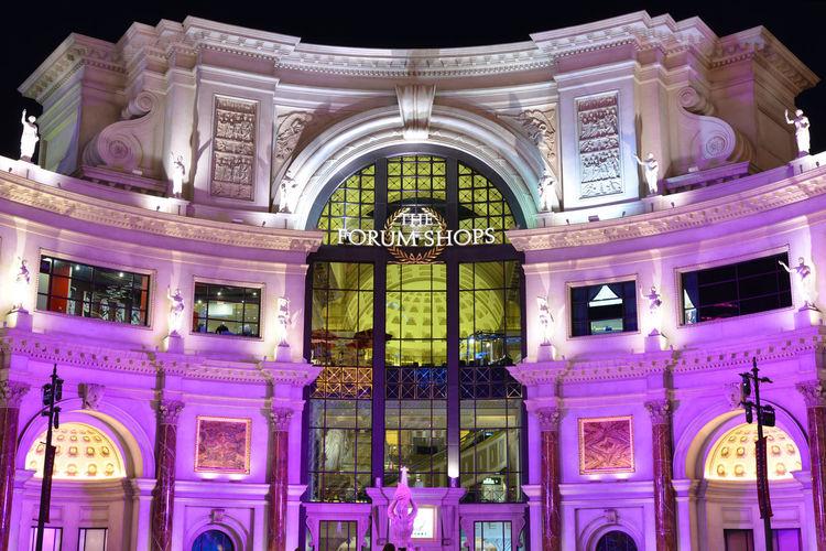 The Forum Shops Architecture Night City Light Façade Building USA Outdoors Illuminated Purple Las Vegas No People Building Exterior Built Structure 840US_LASVEGAS_AK 840US_USA_AK