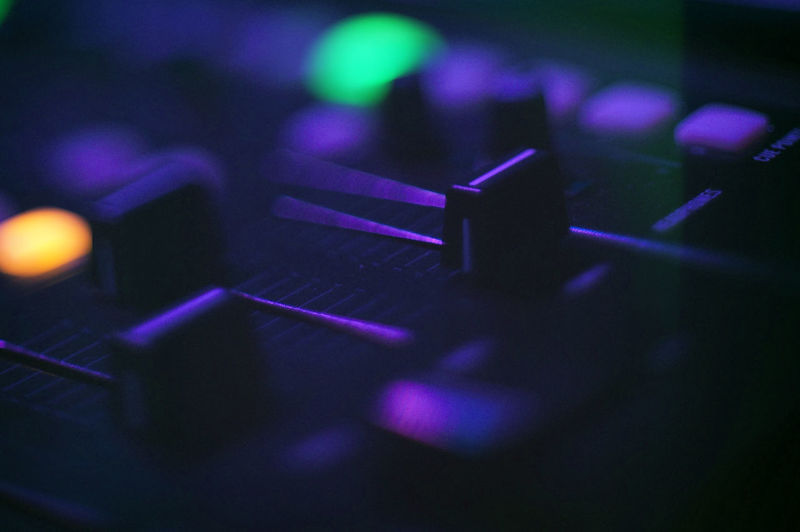 Close-up of sound mixer knobs