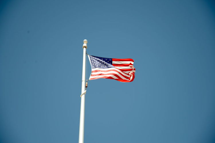 Clear Sky Cultures Day Flag Independence Low Angle View No People Outdoors Patriotism Pole Pride Sky Stars And Stripes Striped