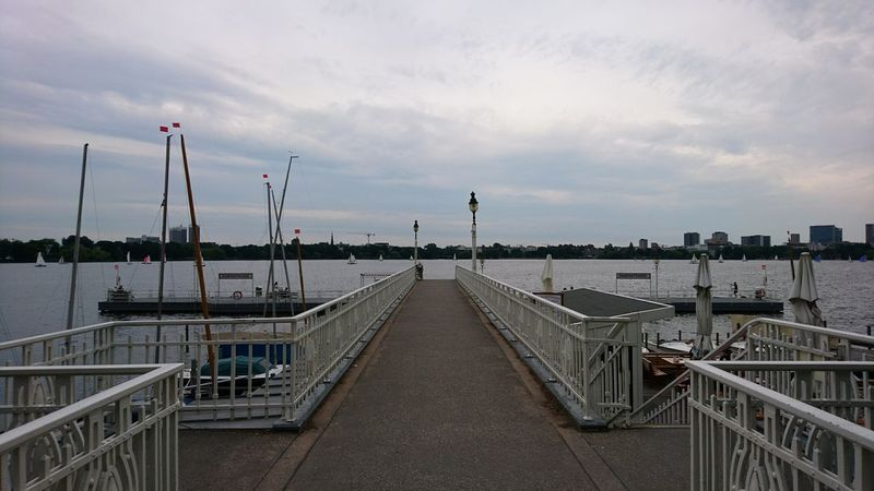 The pier. · Hamburg Germany Hh Alster Außenalster Alster River Pier Boats Clouds And Sky Sky And Clouds Clouds Overcast Sea Day No People Water Outdoors Hamburgmeineperle