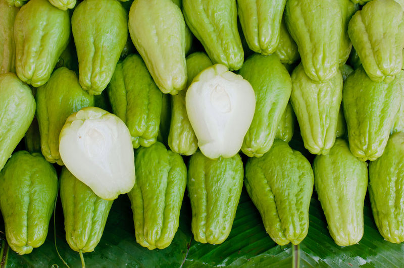 Directly above shot of chayote squash