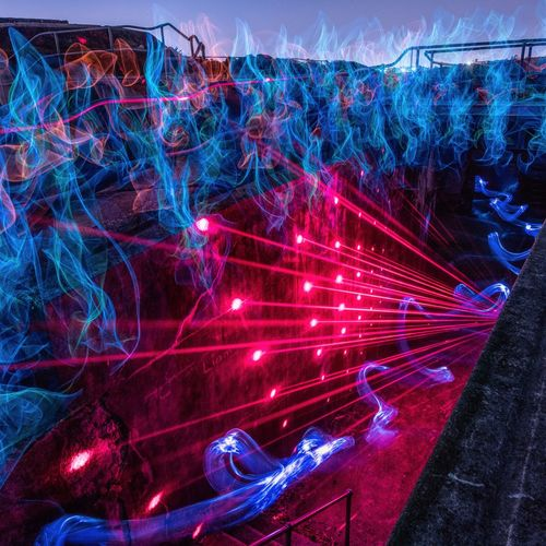 EL Wire, Lasers & a Bottle of Gin Deb Mooney and I went out exploring Middle Head on Saturday. What an amazing location. It will also be the place of our first Sydney LightPainting Meetup on the 31st of March. Illuminated No People Technology Multi Colored Red Night Indoors  Close-up Capture Tomorrow Capture Tomorrow