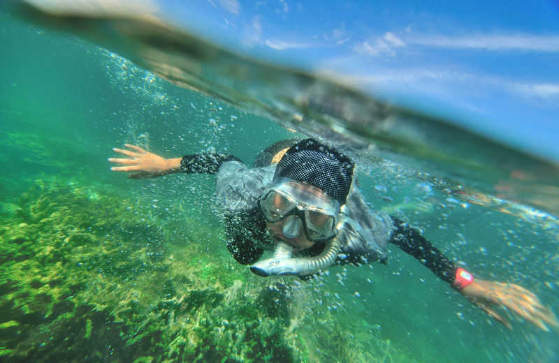 snorkeling enjoy the beauty of the underwater and oversaw the growth of coral reefs Beauty In Nature Blue Day Nature Outdoors Water