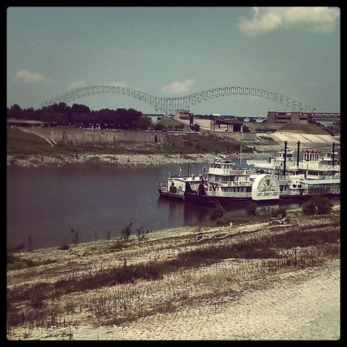 Forgot to post this while home this past weekened Memphis MississippiBridge MudIsland MemphisQueenRiverboats RiversideDrive