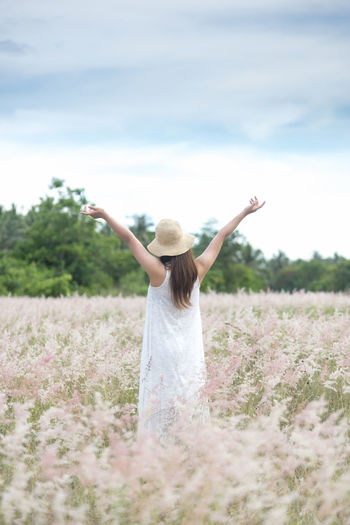 Freedom life Human Arm Limb Human Limb Body Part Arms Raised Human Body Part One Person Arms Outstretched Plant Young Adult Rear View Standing Nature Adult Field Sky Enjoyment Happiness Land Women