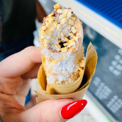 Close-up of person holding ice cream
