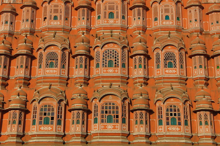 Ancient Architecture ASIA Building Feature Close-up Full Frame Hawa Mahal History In A Row India Jaipur Maharadscha Palace Of Winds Rajasthan Royalty