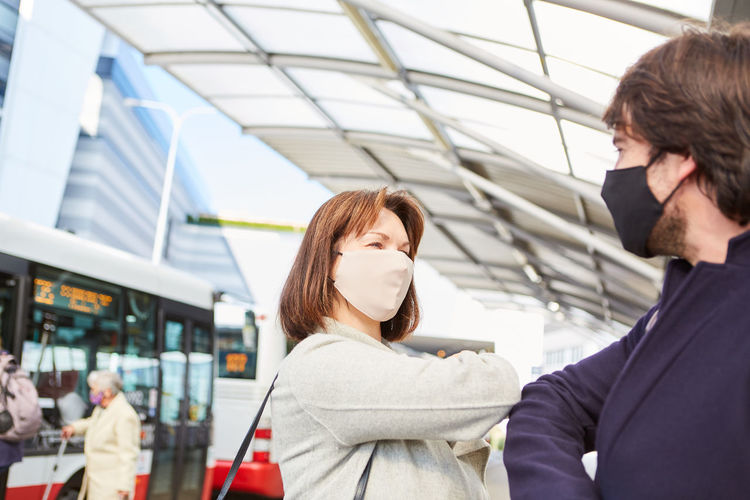 Portrait of young couple at airport