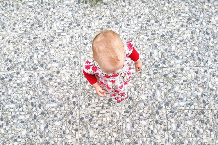 One Person Child One Girl Only Children Only High Angle View Directly Above Real People Baby Girl Toddler  Kids Baby Head Baby Clothing Baby Dress Baby Hair Baby Standing Home Family Childhood Lifestyle Mix Yourself A Good Time The Week On EyeEm EyeEmNewHere