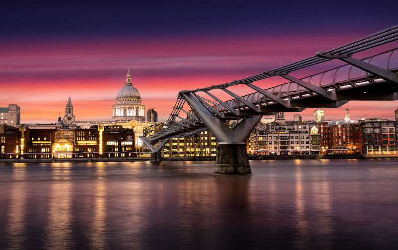 Millennium Bridge By St Paul Cathedral Against Sky