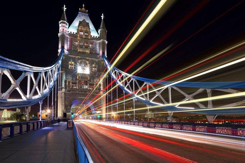 Tower Bridge  Light Trails Night Illuminated Architecture Built Structure Transportation City Bridge