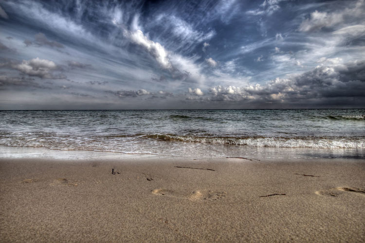 Baltic Sea Beach Beauty In Nature Clouds Clouds And Sky Footsteps In The Sand HDR High Dynamic Range Horizon Over Water Nature No People Relax Sand Scenics Sea Sky Sky And Clouds Water Wave EyeEmNewHere at Kærneland Danmark Eyeem Market Long Goodbye The Great Outdoors - 2017 EyeEm Awards Place Of Heart Sommergefühle