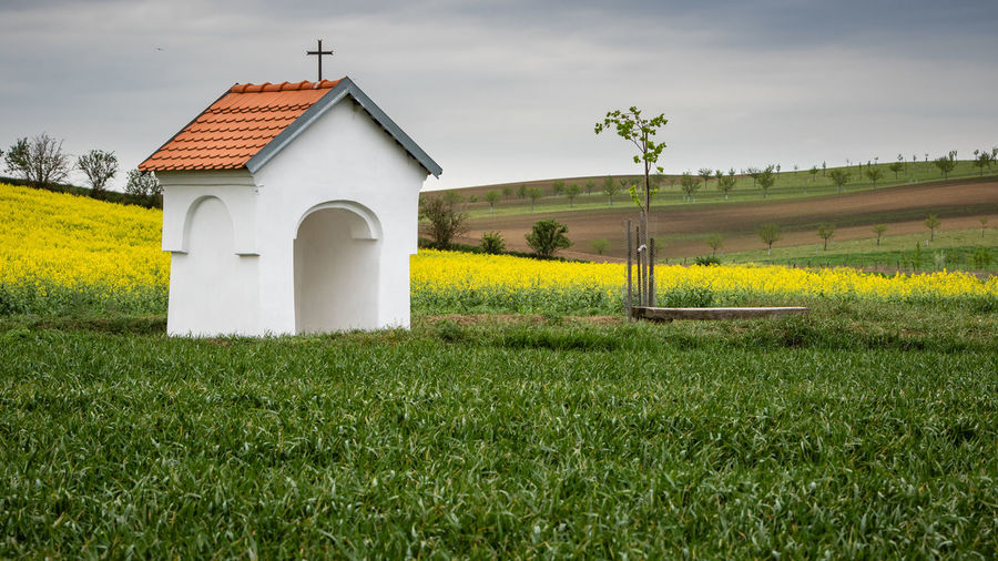 Scenic view of a chapel and fields in beautiful wavy countryside. clean environment and agriculture