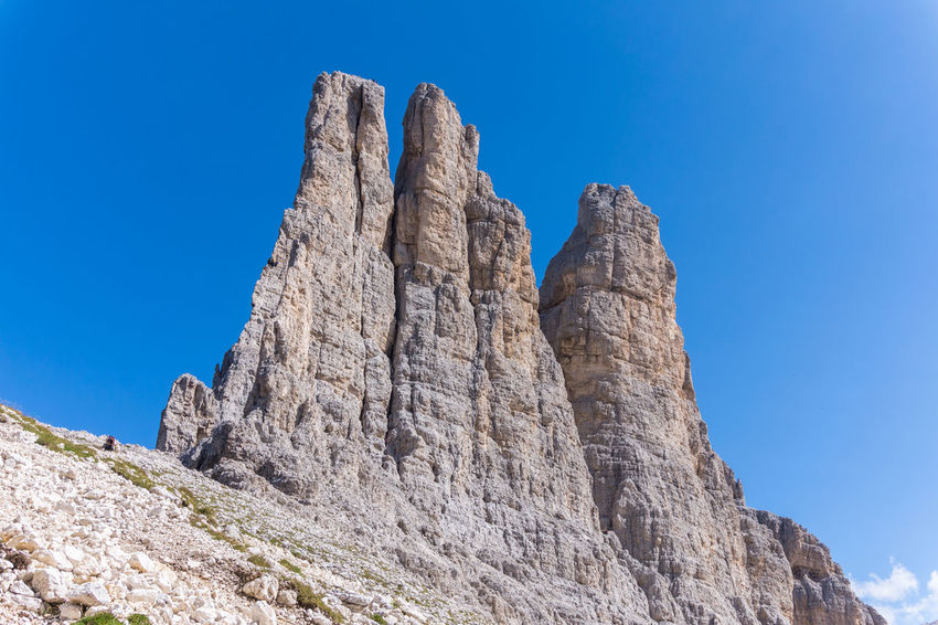 Dolomites, Italy Alps Blue Clear Sky Climbing Geology Low Angle View Mountain Nature Outdoors Rock - Object Rock Formation Vajolet