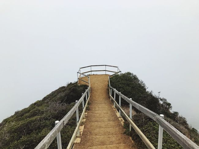 Muir Beach overlook Fog Beach Photography Muir Beach Muir California Railing Copy Space Steps And Staircases Steps Clear Sky Staircase Day Nature No People Built Structure Water The Way Forward Outdoors Beauty In Nature Architecture Sky Tree