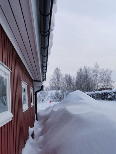 Snow covered houses by building against sky