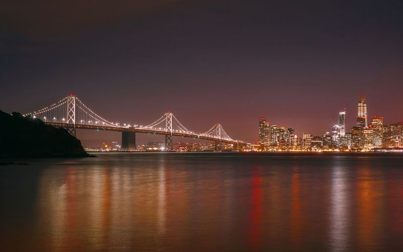 San Francisco–Oakland Bay Bridge at night. San Francisco San Francisco Bay Oakland Bay Bridge San Francisco, California California Golden State Warriors Dubs Dubnation NBA Nbaxmas Cavs Cavsnation Cavaliers Steph Curry Lebron Lebron James Night Bridge - Man Made Structure Travel Destinations Architecture Cityscape Built Structure Suspension Bridge City Outdoors Sky Urban Skyline No People Modern