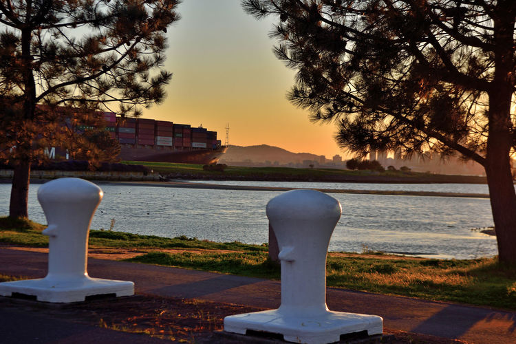 Sunset At Middle Harbor 4 Port Of Oakland,Ca. Maritime Middle Harbor Estuary Cove Lowtide  Mudflats Trees Mooring Posts Freighter Enroute To San Francisco Bay Freighter Cityscape San Francisco Sunset Silhouettes Sundown Sunset Sunset Collection Sun's Glow Shadows Silhouettes Hills Of San Francisco Sutro Tower Landscape_Collection Skyscrapers AT&T Ball Park Water Sky Urban Skyline Horizon Over Water Scenics Shore