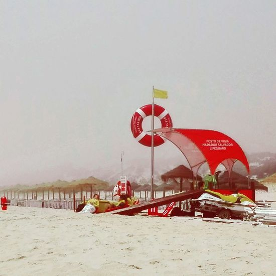 Beach Lifeguard Station Lifeguards Foggy Yellow Flag Red