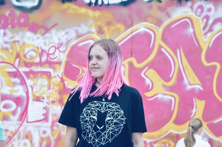 Neon Life Graffiti Street Art Creativity Enjoyment Happiness Pink Pink Hair Dont Care  Fearless Love Yourself Stories From The City