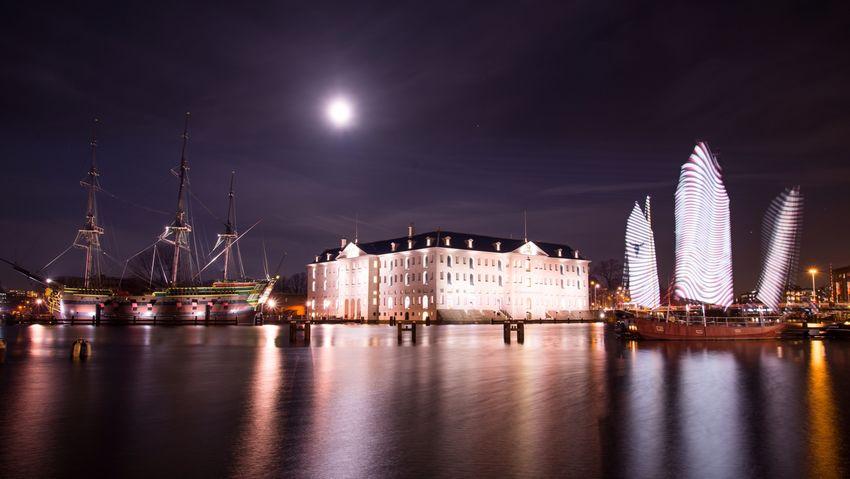 Amsterdam Boats Night Scheepvaartmuseum