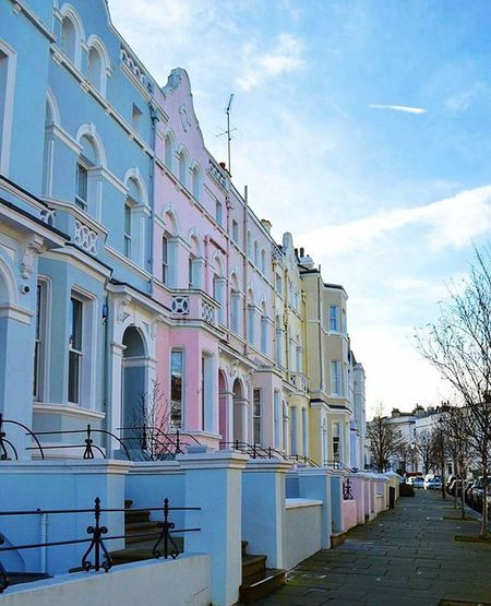 B l u e. P i n k. Y e l l o w. Lovely Pastelhouses Houses Uk England Architecture Pastel Street Blue Pink Yellow Urban City Cute