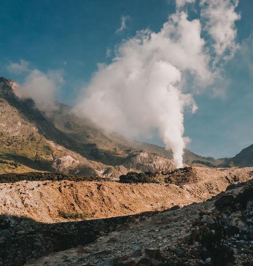 Smoke volcano of mount papandayan