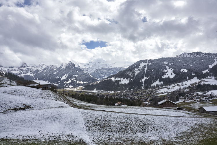 Easter 2018 Forest Grass Road Simmental Tranquility Beauty In Nature Berner Oberland Bernese Oberland Cloud - Sky Fields Landscape Lenk Mountain Range No People Outdoors Scenics - Nature Snow Covered Snowcapped Mountain Springtime Tranquil Scene Valley