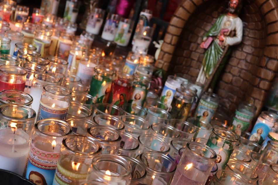 Prayer Candles Prayer Candles Prayer Large Group Of Objects In A Row Arrangement Illuminated Indoors  Candle Order Abundance Flame No People Burning Religion Fire High Angle View Glass - Material Belief