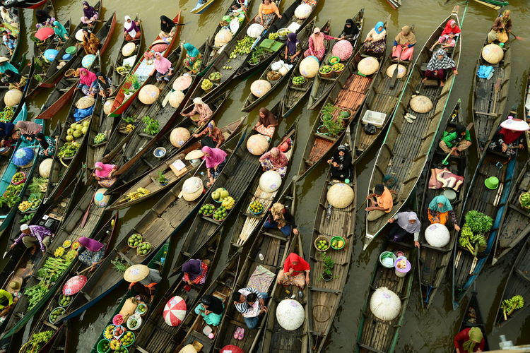 High angle view of people for sale in market