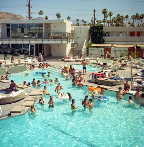 Large Group Of People Water Swimming Pool Real People Enjoyment Outdoors Leisure Activity Men Day Lifestyles Women Fun Built Structure Nautical Vessel Building Exterior Architecture Nature Crowd Water Slide Sky Palm Springs Ace Hotel California