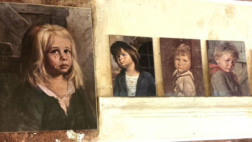 Sad paintings Portrait People Women Representing ArtWork Crying Child Crying Eye Vintage Vintage Portrait Wierdface Wierd&beautiful Paintings Group Of Childrens EyeEmNewHere