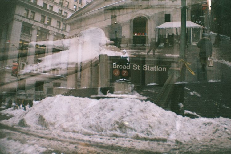 Unedited Multiple Exposures Film Photography Imperfectly Perfect Building Exterior Wall Street  Broad Street Financial District  Snow Pile Federal Building Historical Place Winter_collection Tourist Attraction  Analogue Photography Embrace Urban Life Adapted To The City Collage ミーノー!! Cut And Paste Rethink Things