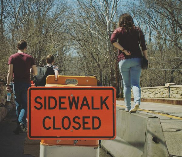 Up Close Street Photography Outdoor Photography RockyRiverOhio Construction Site Road Signs Road Closed Trespassing River People Photography Pedestrian Bridge