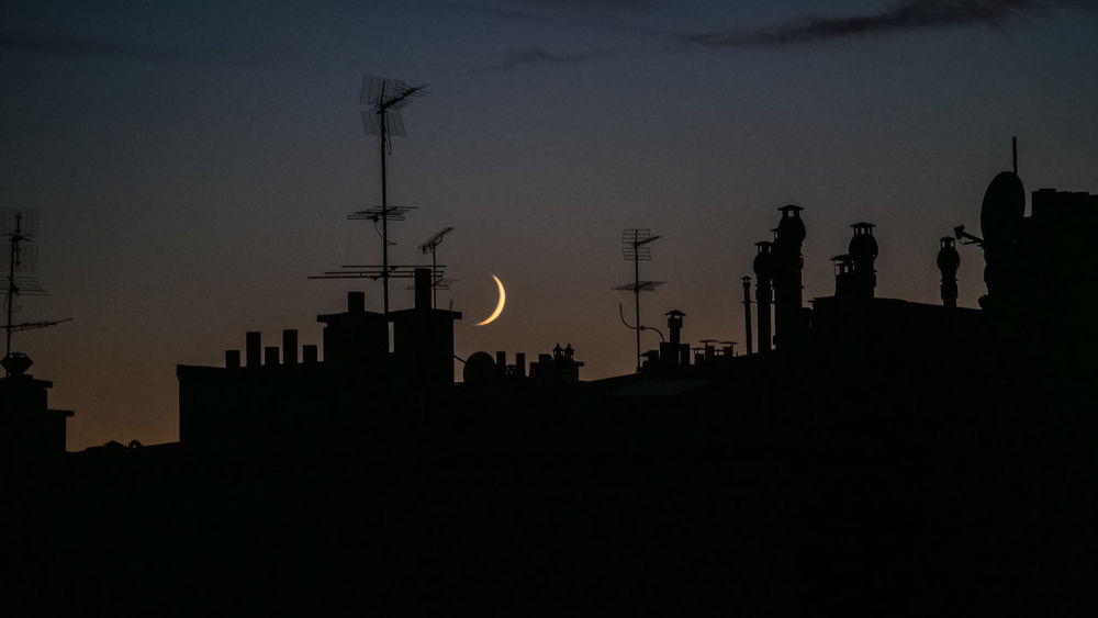 Architecture Building Exterior Built Structure Moon Night Outdoors Sky