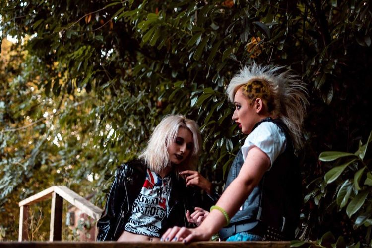 PUNK. Rock Grunge Portrait Photography Portrait Of A Woman Portrait Doc Martens Denim Leopard Print Leopard Punk Style Punkrock Punk EyeEm Selects Two People Togetherness Women Plant Tree Bonding Outdoors Happiness Casual Clothing Lifestyles Young Women Nature Adult Love Real People Emotion Females