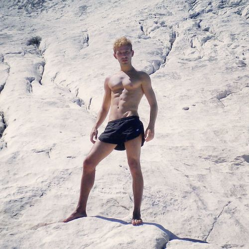 Portrait Blonde Boy Fit Gay Gayguy Gayselfie Gayworld Beach Shorts Shirtless