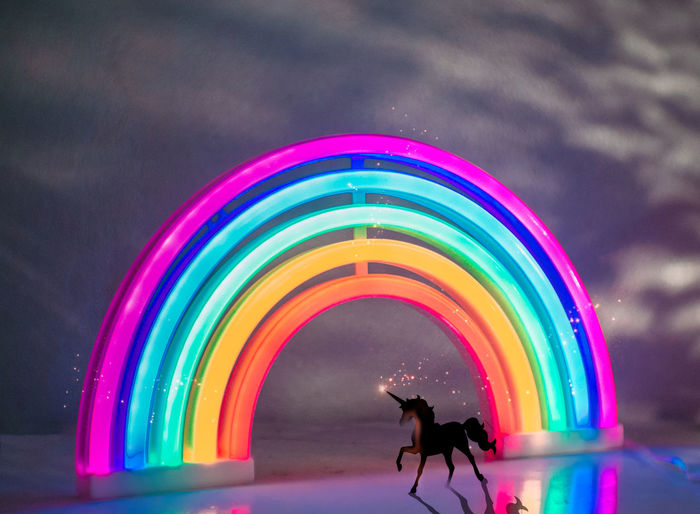 cross the rainbow,you will unicorn Multi Colored Real People Motion Leisure Activity Nature Rainbow Cloud - Sky Silhouette Lifestyles One Person Illuminated Sky Men Long Exposure Water Outdoors Creativity Neon Neon Lights Unicorn