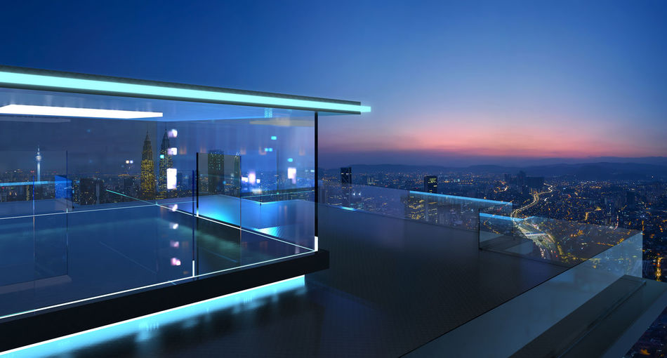 3D rendering of a modern glass balcony with city skyline real photography background, night scene .Mixed media . Architecture Building Exterior Built Structure City Cityscape Dusk Home Interior Home Showcase Interior Illuminated Indoors  Luxury Modern Nature Night No People Residential Building Scenics Sea Sky