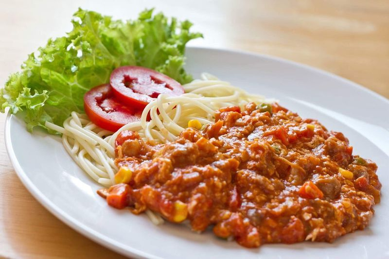 Spaghetti Plate Pasta Food And Drink Food Freshness Italian Food Healthy Eating Ready-to-eat Salad Tomato No People Serving Size Close-up Vegetable Indoors  Day