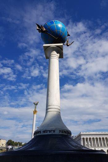 EyeEm Selects Travel Destinations Architecture Statue Built Structure Tourism Sculpture Cloud - Sky History Travel Sky Low Angle View Blue Architectural Column Authority Futuristic Kiev Kiev Ukraine Kiev City. Ukraine Kiev Down Town Kyiv,Ukraine Київ Ukraine Kyivphoto Kyiv Architecture