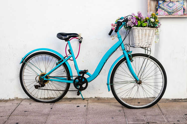An old blue bicycle leaning against a white wall Bicycle Transportation Land Vehicle Mode Of Transportation Basket Bicycle Basket Stationary Wall - Building Feature Flowering Plant Wheel Leaning Flower Blue Bike Blue Bicycle Flat Tyre White Wall Old Bicycle Old Bike