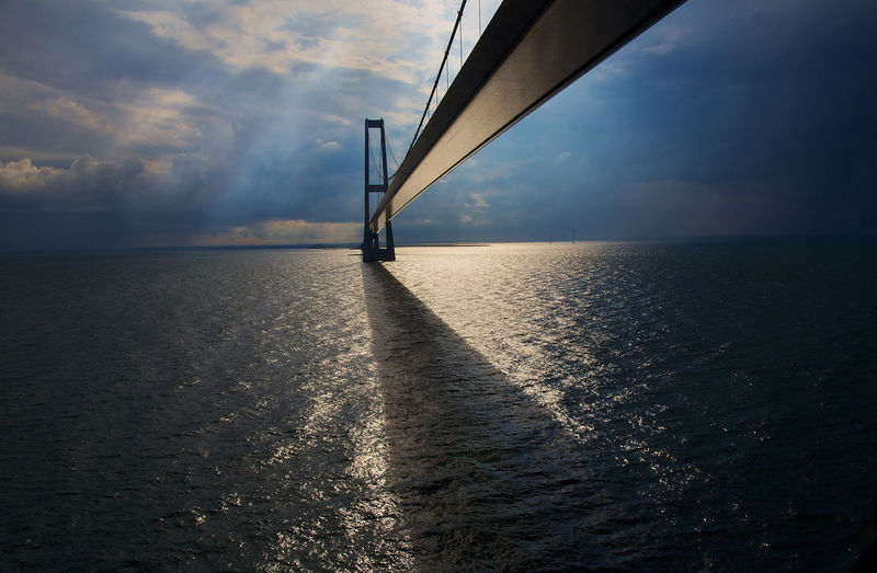 Oeresund bridge over sea against cloudy sky