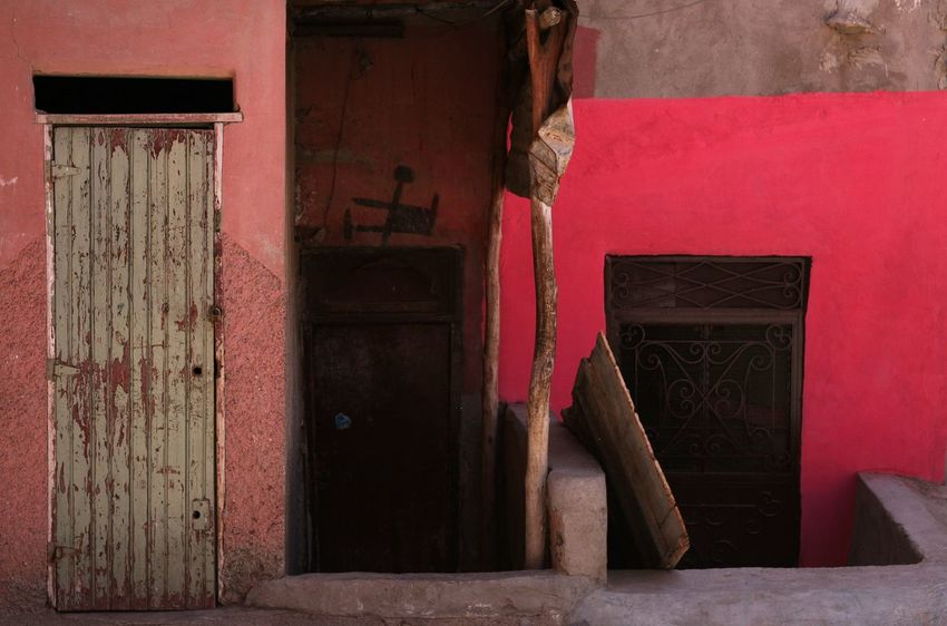 Amazing colours in Marrakesh, Morocco Door Built Structure Architecture Building Exterior Day No People Outdoors travelling Architecture Weathered City Morocc Morocco Bad Condition